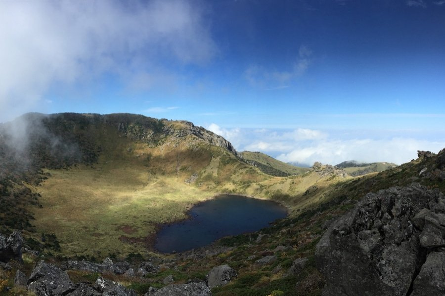 """A crater lake on Mt. Hallasan in Jeju Island, called Baengnokdam, literally """"white deer lake"""". Hallasan is the highest mountain in South Korea (dlwnsvy5 / Shutterstock)"""